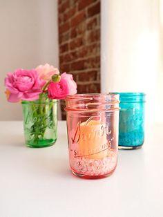 Dye mason jars with food coloring + Mod Podge #masonjars