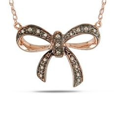 """Rose Gold Brown Diamond Bow Pendant Necklace, 18"""""""