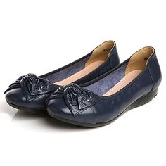 Jenssa Womens Round Toe Flower Slip On Genuine Leather Flats Shoes 85 Navy -- Continue to the product at the image link. Note:It is Affiliate Link to Amazon.