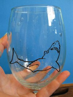 Shark Week Fan Bubble Wine Glass 3D Paint by itchyeyedesigns, $15.00