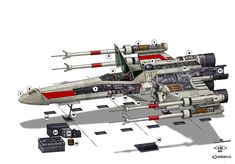 Star Wars - T-65 X-Wing Fighter An old drawing from 1983 Original dimetric perspective, handmade in ink Colored with Photoshop
