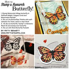 How to stamp a Monarch butterfly with Stampin Up Watercolor Wings stamp set and a die cut Butterflies Thinlit - tutorial by Patty Bennett