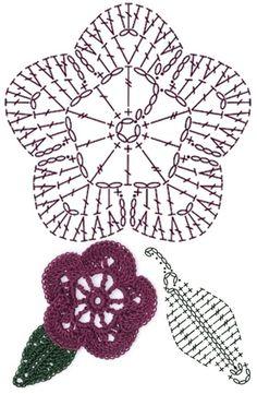 Watch The Video Splendid Crochet a Puff Flower Ideas. Wonderful Crochet a Puff Flower Ideas. Crochet Puff Flower, Crochet Flower Tutorial, Crochet Leaves, Crochet Flowers, Crochet Bolero, Crochet Diagram, Crochet Chart, Diy Crochet, Irish Crochet Patterns