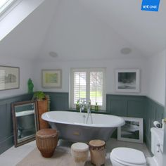 Carla Benedetti's stunning home. Live the drum repurposed as side table. Abigail Ahern is another designer who likes this idea. Ireland Homes, Attic Bathroom, House Extensions, Bathroom Inspiration, Ideal Home, Repurposed, Abigail Ahern, Colour Palettes, Interior Design