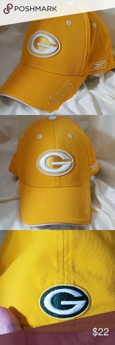 NFL REEBOK Green Bay Packers OSFA Baseball Cap Brand: NFL Reebok  Item: *Yellow Base Color Ball Cap Hat with White Reebok Symbol Embroidered on Left side of Cap & on Front. *Their Green Symbol is Embroidered on the Back *Cap is OSFA & is Lined Around tje Head for Individual Fit. *Under the Bill is White *84% Nylon, 14% Cotton & 2% Polyurathene *Excellent Pre-Loved Condition  *no trades, offers via offer button only* NFL Reebok Accessories Hats