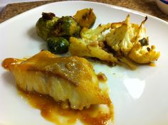 Miso cod with roasted brussel sprout and cauliflower