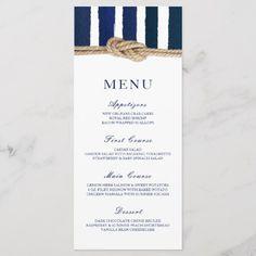 Shop Nautical Knot Navy Stripes Wedding Menu created by ModernMatrimony. Boat Wedding, Wedding Cups, Nautical Wedding, Wedding Menu, Wedding Planning, Anchor Wedding, Wedding Themes, Party Planning, Wedding Decorations