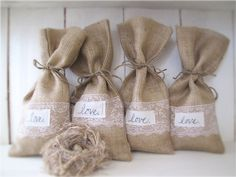 Wedding favor bags...LOVE & Lace Burlap Gift Bags by funkyshique on Etsy. $24.00 USD, via Etsy.
