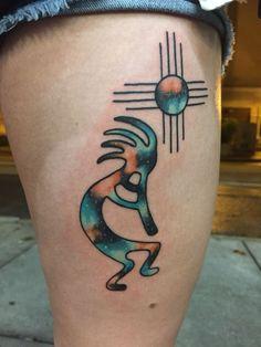 Galaxy Kokopelli & Zia by Shane Olds at Rise Above Tattoo in Orlando FL - Modern Tattoos Arm Mann, Tribal Tattoos For Men, Arm Tattoos For Guys, Tattoos For Women, Tattoo Women, Geometric Tattoos, Kokopelli Tattoo, Usa Tattoo, Tattoo Ink