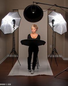 Ideas de iluminación. 1- Sin flashes laterales 2- Esquema completo 3- V de Beauty