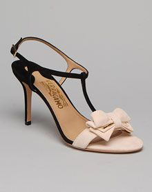 Salvatore Ferragamo suede sandal with white bow classic and feminine!