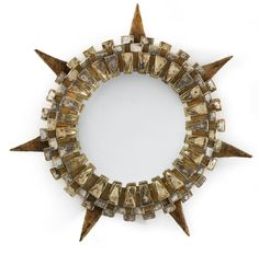 "LINE VAUTRIN ""TUDOR"" MIRROR incised LINE VAUTRIN talosel and mirrored glass 19 7/8 in. (50.5 cm) diameter circa 1960"