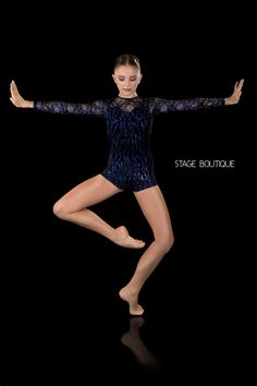 DANCE COSTUME - EXCEPTION, $69, Royal Blue and Black Sequin Unitard, Stage Boutique, www.stageboutique.com