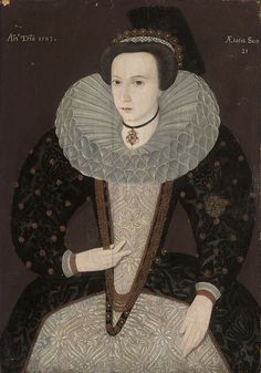 File:English School Portrait of a Lady Aged 21 in 1583.jpg . While this appears to have the date of 1583 painted in, the style appears more like the fashion of the early to mid 1590s instead.