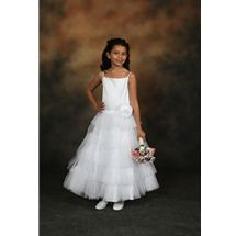 Flower Girl Dress style 421 by Sweetie Pie Collection has a peau satin bodice with spaghetti straps.  A full 5 layer tulle skirt, with one over sized rose on front waist, 2 over sized roses on back waistline. www.SweetiePieCollection.com