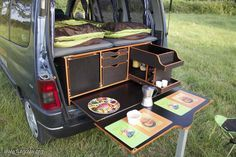 18 Slidepods VW Camper Kitchen – Holiday and camping ideas Minivan Camping, Auto Camping, Camping Diy, Camping Gear, Vw Camper, Mini Camper, Camper Life, Campervan Hire, Campervan Interior