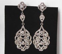 Crystal Chandelier Bridal Earrings Long by nefertitijewelry2009, $49.50