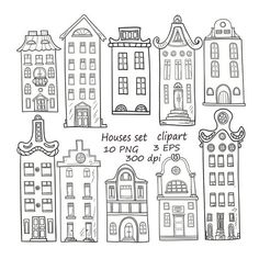 Set of hand-drawn houses.10 Houses clipart.Hand-drawn houses clipart.Buildings Clip Art.Doodle house House Clipart, Amsterdam Houses, House Drawing, Baby Shower Cards, Surface Pattern Design, Doodle Art, Digital Scrapbooking, Overlays, Journaling