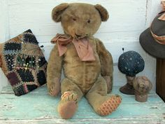 """Prim Dolls Of Calico: Early Teddy Bears 1910, Early Leather Books 1820 - 1840 - and some of my hand made wool mice """" Love at first Sight"""" all of these are available at Prim Dolls of Calico's Blog.."""