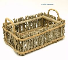 Antique Folk Art Flower Basket Tray Box Tote Caddy Decor Linens Twigs & Branches Photos and Information in AncientPoint Twig Crafts, Driftwood Crafts, Diy Home Crafts, Craft Stick Crafts, Twig Art, Twig Furniture, Basket Tray, Wood Basket, Stick Art