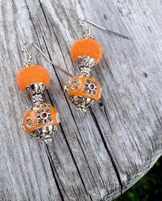 Orange and Silver Acrylic Beads Silver Color Metal by NilanArts