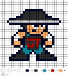 Kung Lao Mortal Kombat 2 Perler Bead Pattern MK2