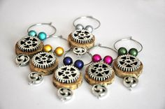 Steampunk Wine Cork Beaded Wine Glass Wine Charms.