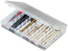 Art Bin Solutions 6-18 Compartments Storage Box from @fabricdotcom  Versatile organizers in assorted sizes. Great for scrapbooking, crafts, art supplies, home office and more. Ideal for use in organizer totes. They are made of acid free, shatterproof, translucent polypropylene and are resistant to oils, solvents and most chemicals. Features include no-spill latches, sturdy hinges and 12 dividers for additional compartment capabilities. Measures 10.5'' x 7'' x 1.5''.