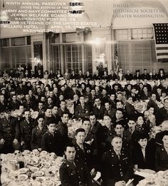 Full tables at the Passover seder held at the Willard Hotel, which drew more than 1,000 soldiers, friends, and family, 1943