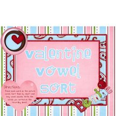 In this Valentine center, your students will read the word cards using the picture clues and sort the words by long and short vowel sounds.