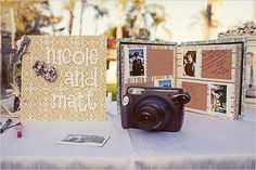 Great idea for a guest book, Polaroid camera - each guest snaps their photo then places it in the scrap book and writes a message