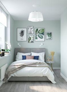 Green Bedroom Walls, Sage Green Bedroom, Bedroom Wall Colors, Room Design Bedroom, Room Ideas Bedroom, Small Room Bedroom, Home Room Design, Home Decor Bedroom, Home Living Room