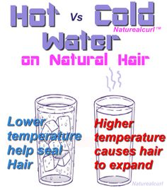 Cold for conditioner. hot for cleansing and styling Natural Hair Tips explains why my hair is so huge when I use warm water lol! Natural Hair Care Tips, Natural Hair Growth, Natural Hair Journey, Natural Hair Styles, Natural Beauty, Healthy Hair Tips, Hair Remedies, Homeopathic Remedies, Black Hair Care