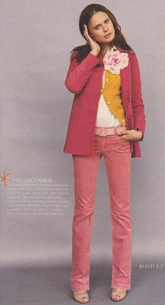 pink + orangy-yellow + big flower = such a pretty outfit