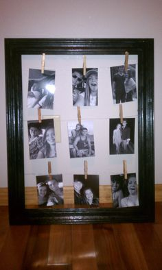 diy gift for a best friend, or mom/dad - pictures through the years!  I'm thinking with scrapbook paper behind and a different kind of clip