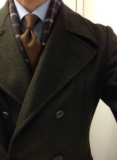 Gentlemen:  #Gentlemen's #fashion ~ Versace DB Coat; Johnstons 100% cashmere scarf'; Ralph Lauren 100% cashmere cardigan; Borrelli shirt; Drakes tie; Creed Green Irish Tweed.