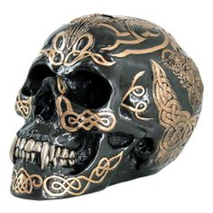 PTC 7 Inch Black and Gold Color Celtic Pattern Skull Statue Figurine Crane, Statues, Vampire Skull, Celtic Patterns, Day Of The Dead Skull, Black Gold Jewelry, Skull Decor, Celtic Tattoos, Human Skull