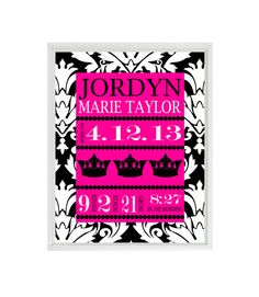 Nursery Art Print Birth Stats  Damask Crowns  by RizzleandRugee