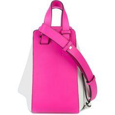 Loewe Hammock shoulder bag ($3,365) ❤ liked on Polyvore featuring bags, handbags, shoulder bags, pink shoulder bag, round purse, genuine leather handbags, top handle leather handbags and top handle handbags