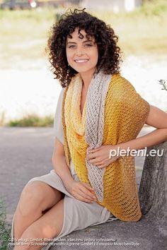 Pletený šátek Duppy – PLETENÍ – NÁVODY Cover Up, Sari, Colours, Fantasy, Knitting, Cowls, Dresses, Fashion, Saree