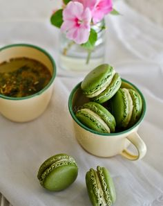 Using Swiss meringue method to bake Green tea infused macarons recipe.