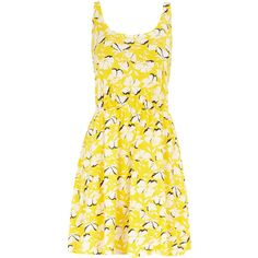 Yellow buttercup dress ($12) ❤ liked on Polyvore featuring dresses, yellow, vestidos, cotton dresses, dorothy perkins, yellow sleeveless dress, yellow day dress and pattern dress