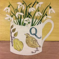 'Quail cup' I'm working on this one today, sometimes the alphabet pieces refer to the image on the cup and sometimes the flowers. I could have painted a quince sprig, but I'm loving painting snowdrops. I will have lots more paintings to show you soon. Wishing you all a happy Monday.