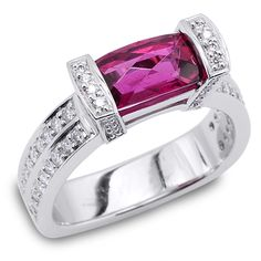 Interlace Collection - 1.45ct Pink Tourmaline accented by Diamonds set in Platinum.