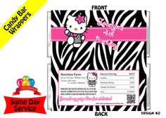 Hello Kitty Zebra Print candy bar wrappers $3.99