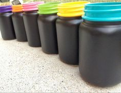Chalkboard Painted Mason Jars, Teachers Gifts, Colorful Mason Jars, Wedding Decor, Christmas Gifts, Set of 6