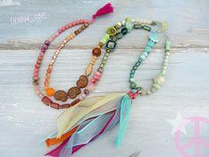 Ketten lang - Kette ✺✿ HIPPIE ✿✺ bunt TREND pastell Quaste - ein Designerstück von charm_one bei DaWanda