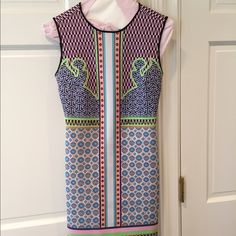 Clover Canyon Dress Clover Canyon Fitted Neoprene Dress Beautiful and Colorful Pattern Fits Tight and Sexy! Size Small 90% Polyester 10% Spandex Back Zipper Excellent Condition Only Worn Once and Dry Cleaned! Clover Canyon Dresses
