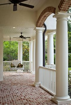 Would love to do the covered front porch of a white house in that brick! Maybe my house. Note they left the red brick flooring and contrast. Home Porch, House With Porch, House Roof, Brick Porch, Pergola, Brick Flooring, Porch Flooring, Brick Pavers, Penny Flooring