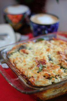 Christmas Breakfast Strata with Prosciutto, Onions and Spinach